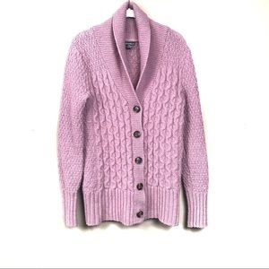 Eddie Bauer pink cable knit cardigan sweater m